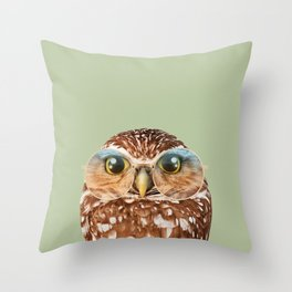 OWL WITH GLASSES Throw Pillow