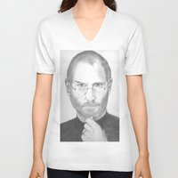 steve jobs V-neck T-shirts featuring Steve Jobs by Feroz Bukht