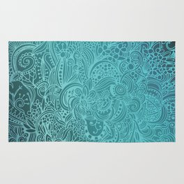 Detailed zentangle square, blue colorway Rug