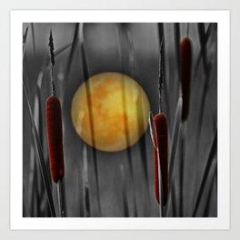 Full moon and bulrushes Art Print