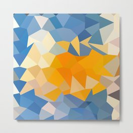 Azure Blue Abstract Low Polygon Background Metal Print