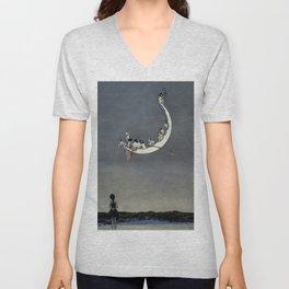 """ Moon's First Voyage"" Fairy Art by W Heath Robinson Unisex V-Neck"