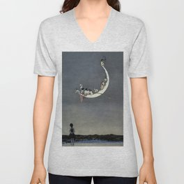 """ Moon's First Voyage"" Fairy Art by W Heath Robinson Unisex V-Neck"