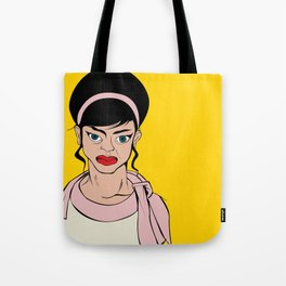 Retro looking angry woman. Pop Art. Tote Bag