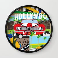 hollywood Wall Clocks featuring Hollywood by Laia Kaie