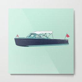 Vintage Wooden Picnic Boat Cruiser I - Susanne Johnson Art Metal Print