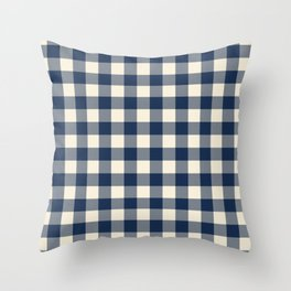 Buffalo Plaid Rustic Lumberjack Blue and White Check Pattern Throw Pillow