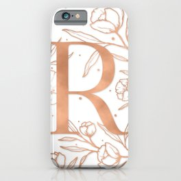 Letter R Rose Gold Monogram / Initial Botanical Illustration iPhone Case