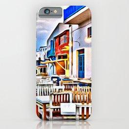 Cafe on Mykonos Beach iPhone Case
