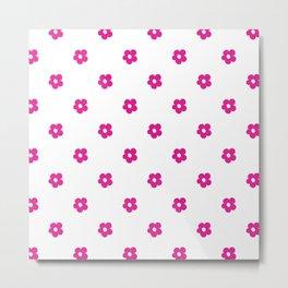 Hot Pink Ditsy Dot Flower Pattern Metal Print