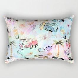 Beach time- Tropical summer watercolor pattern Rectangular Pillow