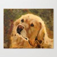 golden retriever Canvas Prints featuring Golden Retriever by Tidwell