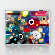 Abstract Grungy Distressed Art Dark Polka Dots Laptop & iPad Skin