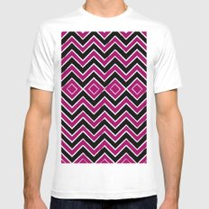Pink Black Tribal Chevron Mens Fitted Tee MEDIUM White