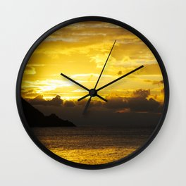 Sunset at Deshaies beach - Guadeloupe Wall Clock