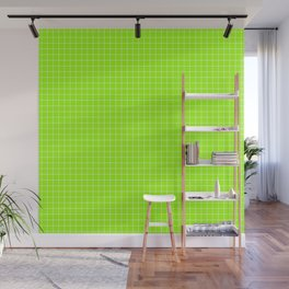 Green Grid White Line Wall Mural