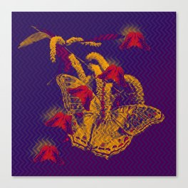 Red radioactive butterflies in glowing landscape Canvas Print