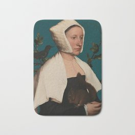 PORTRAIT OF A LADY WITH A SQUIRREL AND A STARLING - HANS HOLBEIN Bath Mat