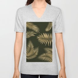 Golden and Green Palm Leaves Unisex V-Neck