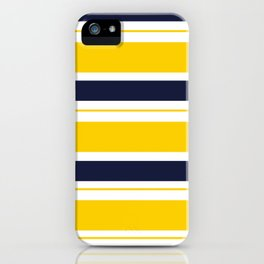 Yellow and Blue Horizontal Lines Stripes iPhone Case