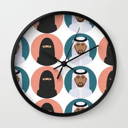 Arabic Man Woman Pattern Wall Clock