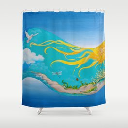 Night Into Day: Morning Shower Curtain