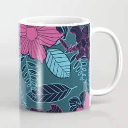 Modern Bold Jungle Floral Pattern Memphis Style Coffee Mug