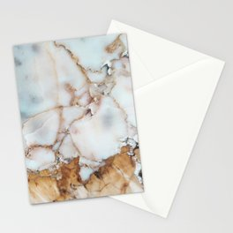 Pastel Blue Pearlescent Marble With Exotic Blush-Gold Veins Stationery Cards