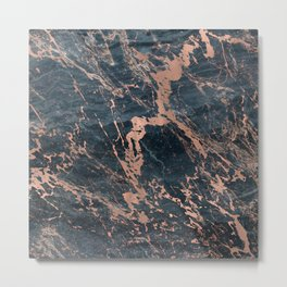 Blue & Rose Gold Marble Metal Print