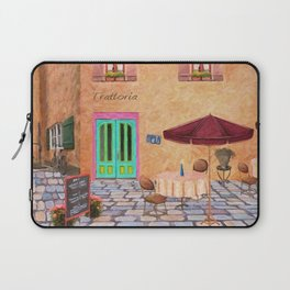 Trattoria Square – Italy – Painting by Liane Wright Laptop Sleeve