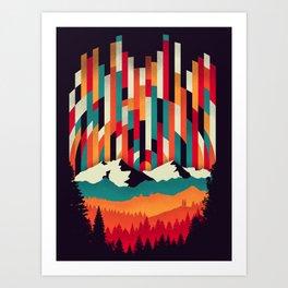Sunset in Vertical Multicolor Art Print