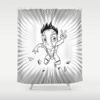 hentai Shower Curtains featuring KWeb #6 : Hentai Kamen (black & white) by Adrien ADN Noterdaem