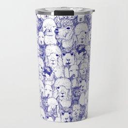 just alpacas blue white Travel Mug