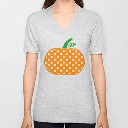 Patterned Pumpkin Polka Dot Pumpkin Unisex V-Neck
