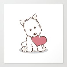 Westie Dog with Love Illustration Canvas Print