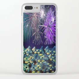 fireworks display cats 492 Clear iPhone Case