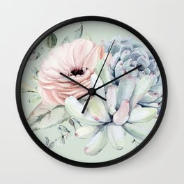 Delightful Mint + Pink Succulents Wall Clock