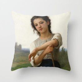 "William-Adolphe Bouguereau ""Young Shepherdess Standing"" Throw Pillow"