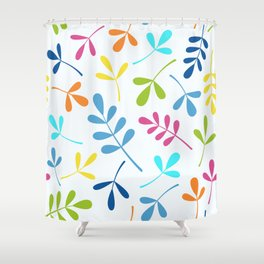 Multicolored Assorted Leaf Silhouettes Shower Curtain