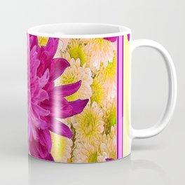 Styalized Art Purple & Yellow Chrysanthemums Floral Garden Coffee Mug