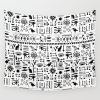 egyptian Wall Tapestries featuring Egyptian Pattern by Mad Love