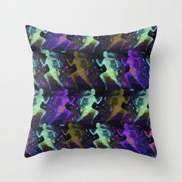 Watercolor women runner pattern on dark background Throw Pillow