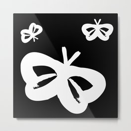 Flying Butterflies Pattern White on Black Metal Print