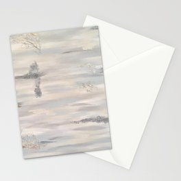 Neutral Driftwood Light Gray Abstract Beachy Painting Stationery Cards