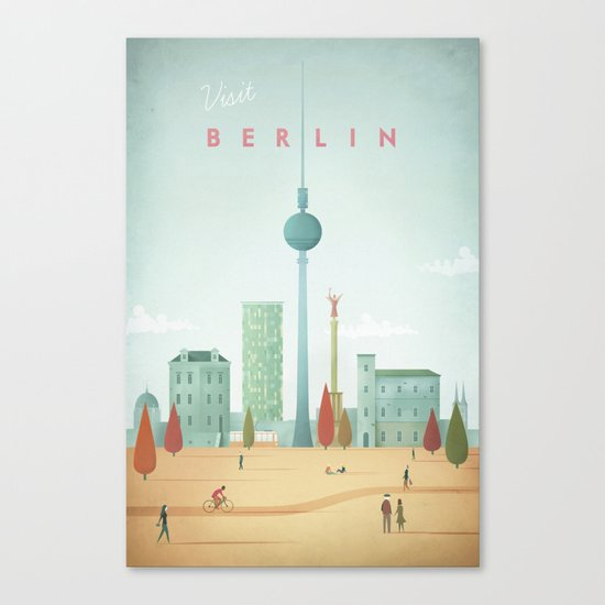 Vintage Berlin Travel Poster Canvas Print