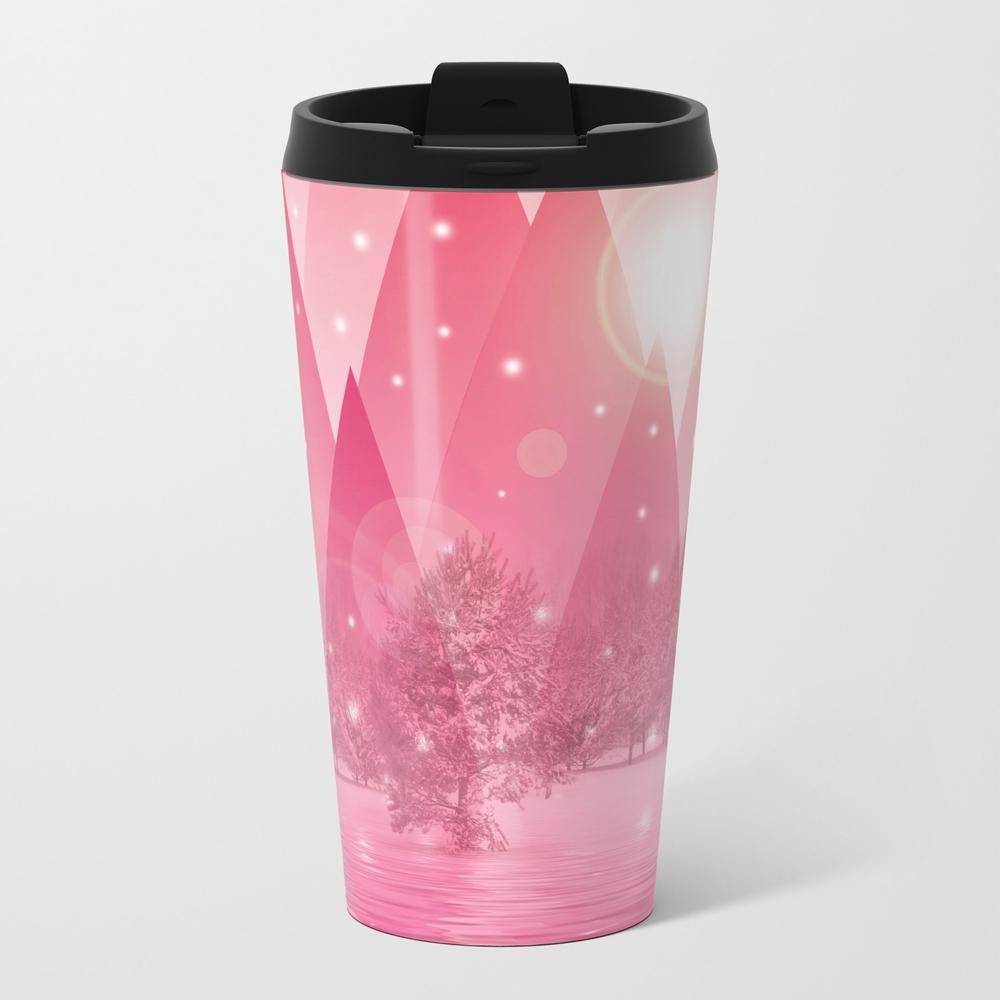 Magic Winter Pink Metal Travel Mug by Atteloi MTM7915538