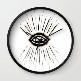 Evil Eye Gold Black on White #1 #drawing #decor #art #society6 Wall Clock
