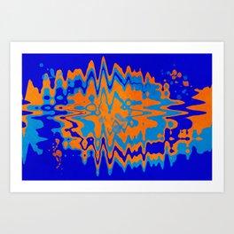 Blue Orange Abstract Art Print