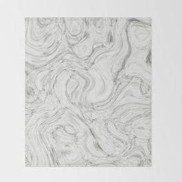 WHITE LIQUID MARBLING Throw Blanket