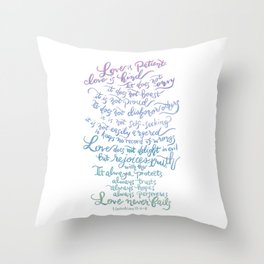 Love is patient, Love is Kind-1 Corinthians 13:4-8 Throw Pillow